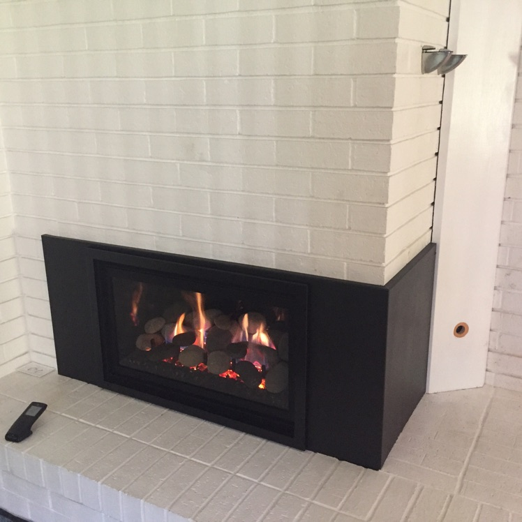 Gas Insert Into Multi Sided Masonry Fireplace Custom